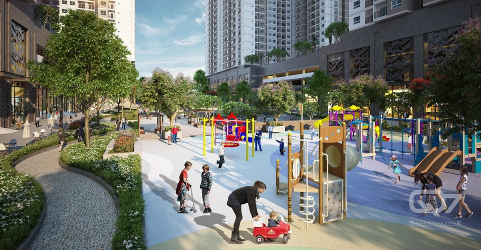 Nôi khu - Khu vui chơi Q7 Sài Gòn Riverside Bán căn hộ tầng cao Q7 Saigon Riverside view hồ bơi và đường Đào Trí.