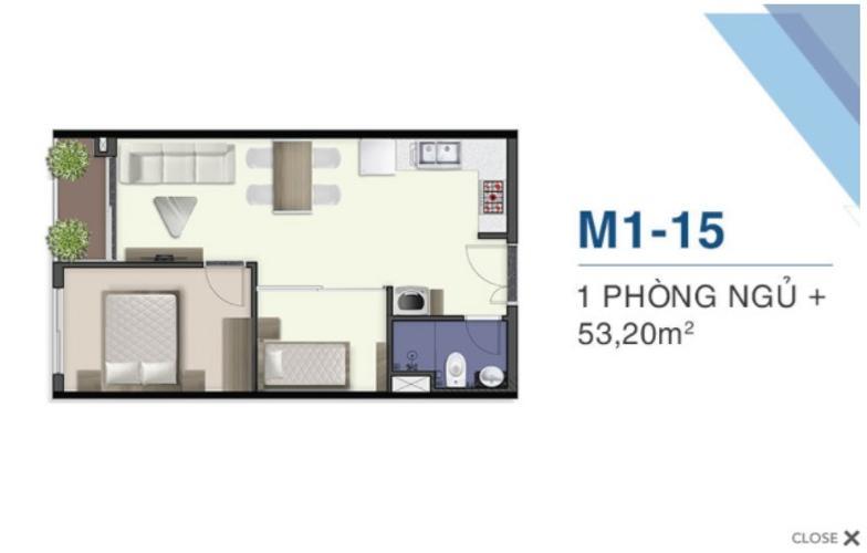 Căn hộ Q7 Saigon Riverside tầng cao, 1 phòng ngủ, nội thất cơ bản.