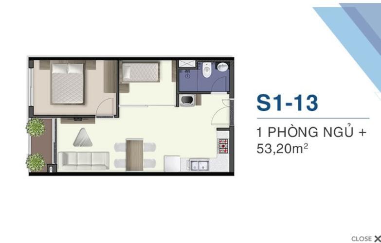 Mặt bằng nội thất Q7 Sài Gòn Riverside Căn hộ Q7 Saigon Riverside 1 phòng ngủ, ban công hướng Tây.