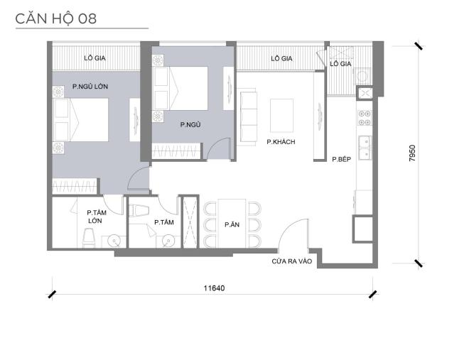 Mặt bằng căn hộ 2 phòng ngủ Căn hộ Vinhomes Central Park 2 phòng ngủ tầng trung P3 nội thất đầy đủ