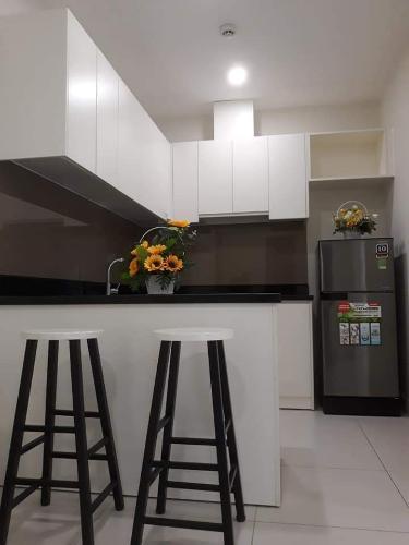 Phòng bếp Diamond Lotus, Quận 8 Căn hộ Diamond Lotus view thành phố, đầy đủ nội thất.