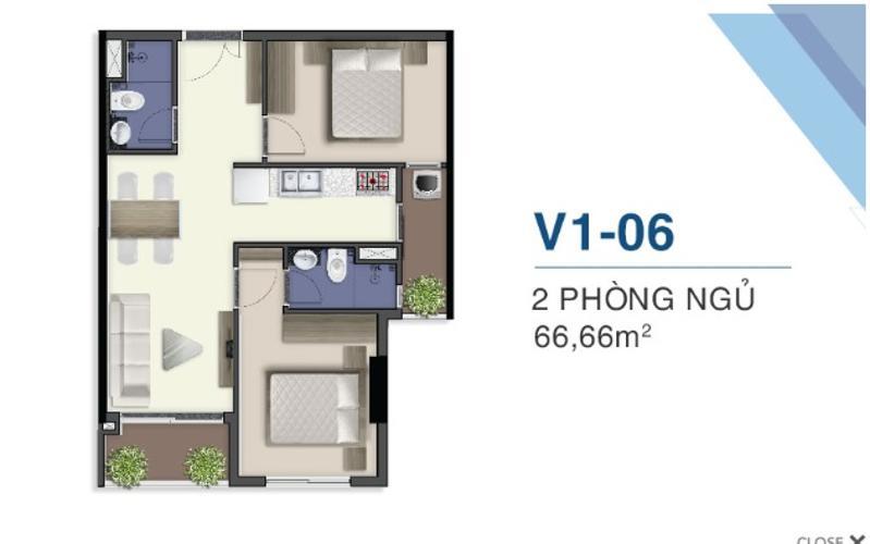 Mặt bằng nội thất Q7 Sài Gòn Riverside Căn hộ Q7 Saigon Riverside tầng trung, view đường nội khu.