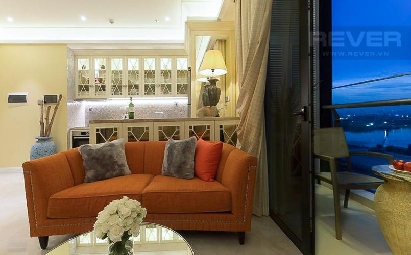 Phòng Khách Cho thuê căn hộ Vinhomes Golden River 2PN, đầy đủ nội thất, thiết kế sang trọng