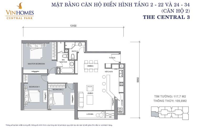 Mặt bằng căn hộ 3 phòng ngủ Căn hộ Vinhomes Central Park 3 phòng ngủ tầng trung C3 đầy đủ nội thất