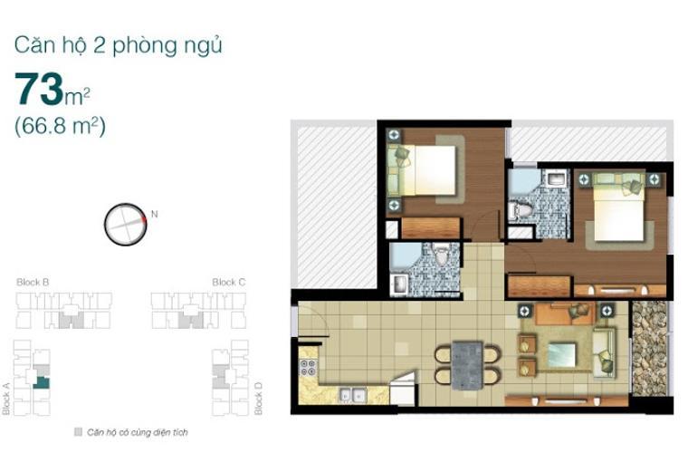 Mặt bằng căn hộ 2 phòng ngủ Căn hộ Lexington Residence tầng thấp LA, 2 phòng ngủ, đầy đủ nội thất