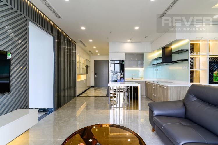 Phòng Khách Cho thuê căn hộ Vinhomes Central Park tầng cao, tháp Landmark 2 2PN, đầy đủ nội thất