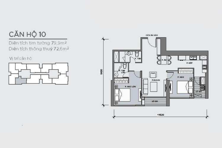 Căn hộ 2 phòng ngủ Căn hộ Vinhomes Central Park 2 phòng ngủ tầng cao P4 view sông