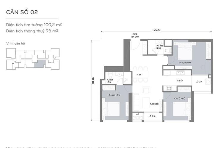 Mặt bằng căn hộ 3 phòng ngủ Căn hộ Vinhomes Central Park 3 phòng ngủ tầng cao L1 view sông