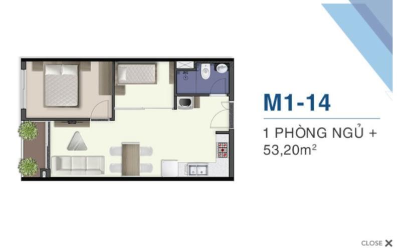 M1.14 Bán căn hộ Q7 Saigon Riverside, 1 phòng ngủ, diện tích 53.2m2, chưa bàn giao