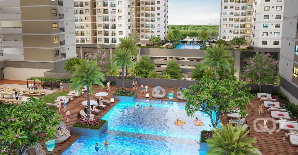 Nôi khu - Hồ bơi Q7 Sài Gòn Riverside Căn hộ Q7 Saigon Riverside 1 phòng ngủ, ban công hướng Tây.