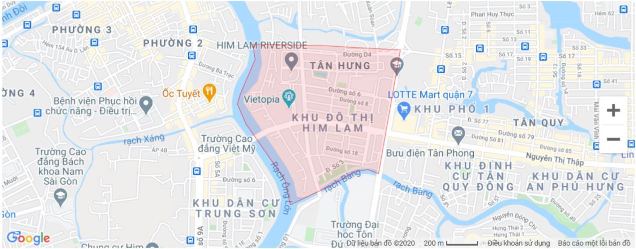Bản đồ khu vực Mặt bằng kinh doanh Khu dân cư Him Lam, diện tích 100m2.