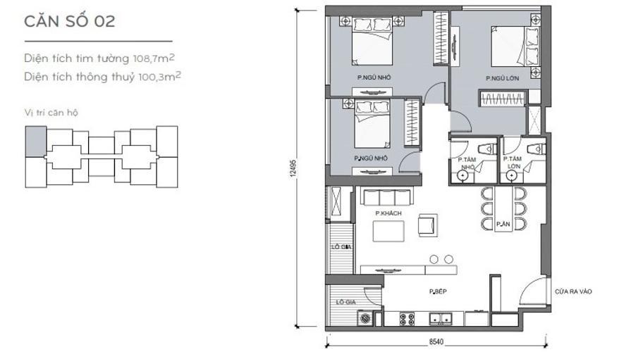 Mặt bằng căn hộ 3 phòng ngủ Căn hộ Vinhomes Central Park 3 phòng ngủ tầng trung L4 nội thất đầy đủ