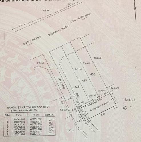 Bản vẽ nhà phố Nguyễn Thượng Hiền, Bình Thạnh Nhà nát hướng Đông Bắc, diện tích 45.1m2, khu dân cư an ninh.