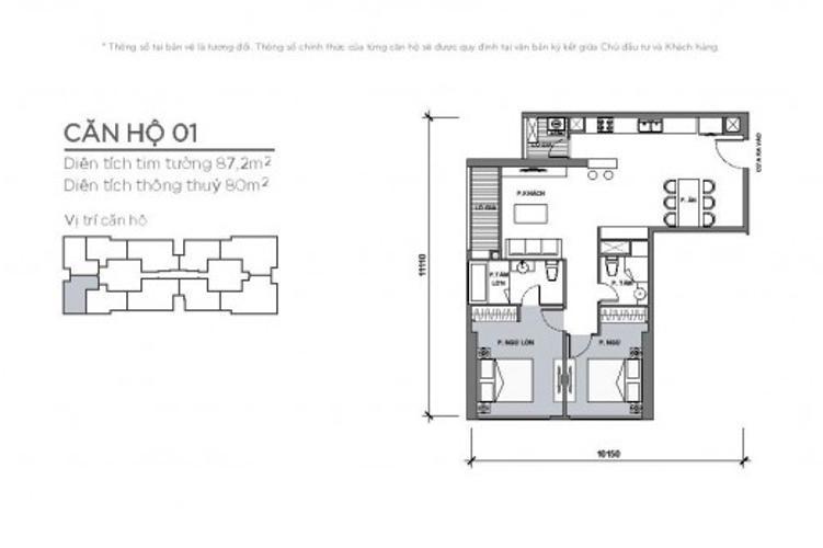 Căn hộ 2 phòng ngủ Căn hộ Vinhomes Central Park tầng cao Park 4 nội thất cơ bản