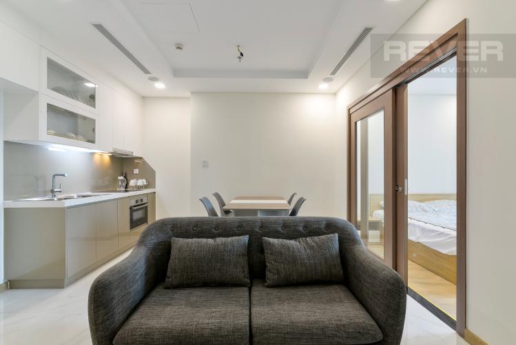 Phòng Khách Cho thuê căn hộ Vinhomes Central Park 1PN, tầng thấp, tháp Landmark 81, đầy đủ nội thất