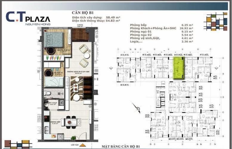 Căn hộ CT Plaza Nguyên Hồng tầng cao 2 phòng ngủ.