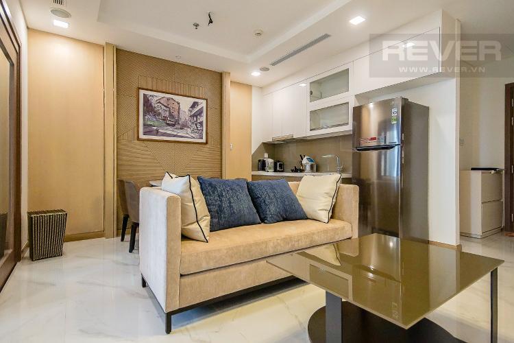 Phòng Khách Cho thuê căn hộ Vinhomes Central Park 1PN, diện tích 54m2, đầy đủ nội thất, view thành phố và sông Sài Gòn