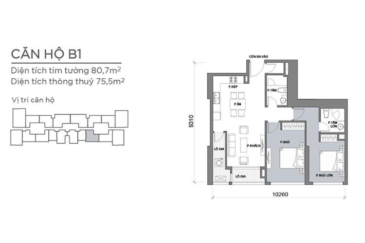 Căn hộ 2 phòng ngủ Căn hộ Vinhomes Central Park 2 phòng ngủ tầng cao Park 6