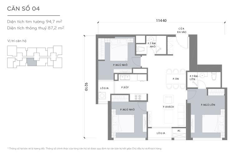 Mặt bằng căn hộ 3 phòng ngủ Căn hộ Vinhomes Central Park tầng cao L2 thiết kế đẹp, nhiều tiện ích