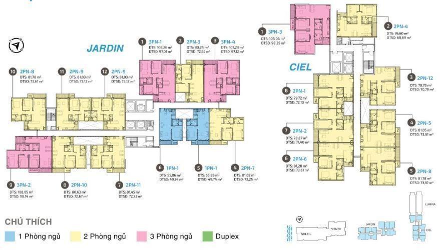 Căn hộ One Verandah thuộc tầng trung, diện tích thông thuỷ 78m
