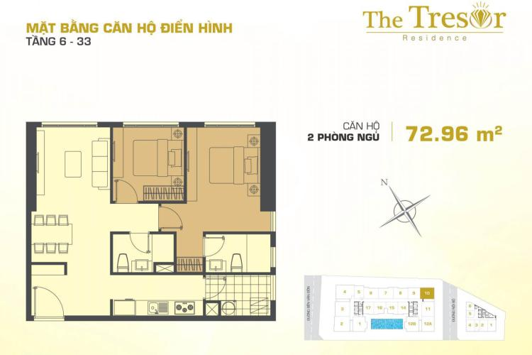 Căn hộ 2 phòng ngủ Căn góc The Tresor 2 phòng ngủ tầng thấp TS1 không có nội thất
