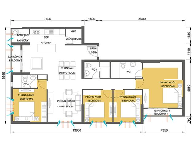 Mặt bằng căn hộ 4 phòng ngủ Căn ghép Masteri Thảo Điền 4 phòng ngủ tầng cao tháp T1 đầy đủ nội thất