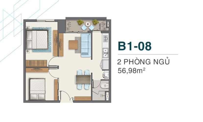 Layout căn hộ Boulevard Quận 7 Căn hộ Q7 Boulevard tầng cao, ban công thông thoáng.