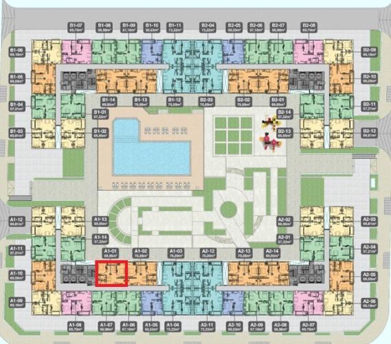 A1.1 Lo Bán căn hộ Q7 Boulevard diện tích 63.57m2, kết cấu gồm 2 phòng ngủ và 2 toilet. Ban công hướng Bắc