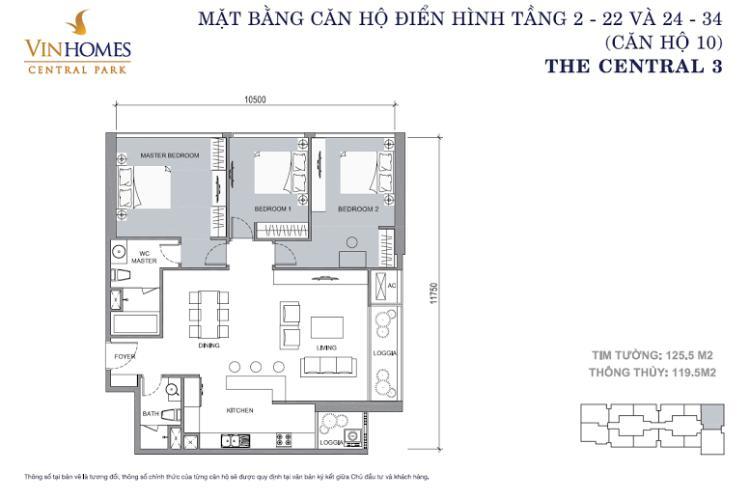Mặt bằng căn hộ 3 phòng ngủ Căn hộ Vinhomes Central Park 3 phòng ngủ tầng cao C3 hướng Nam
