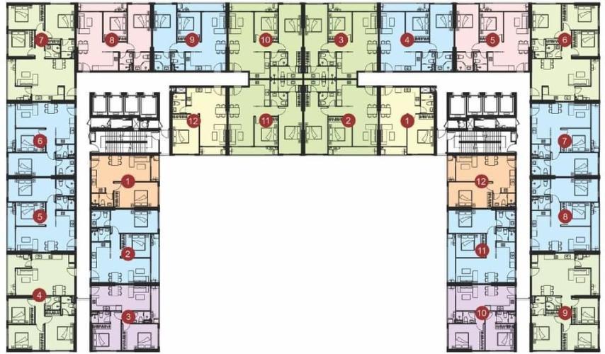 Layout tầng căn hộ Lavida Plus, Quận 7 Căn hộ tầng cao Lavida Plus hướng Tây, ban giao thô.