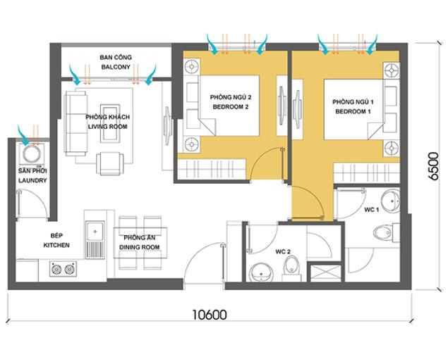 Căn hộ 2 phòng ngủ Căn hộ Masteri Thảo Điền 2 phòng ngủ tầng cao T2 hướng Đông Nam