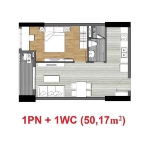 Căn hộ New Galaxy tầng 18 cửa hướng Tây Bắc, nội thất cơ bản hiện đại.