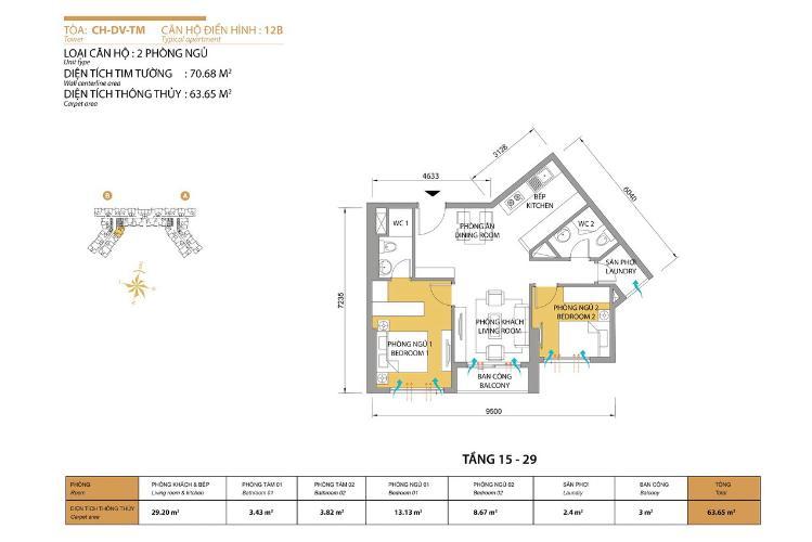 Mặt bằng căn hộ 2 phòng ngủ Căn hộ Masteri Thảo Điền tầng cao T5 mới giao nhà, nội thất đầy đủ