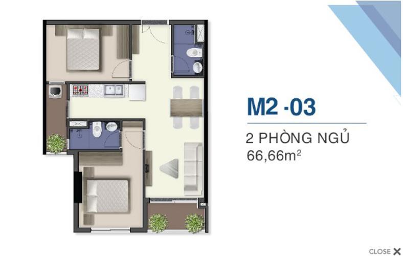 Bán căn hộ 2 phòng ngủ Q7 Saigon Riverside - view nội khu thoáng mát