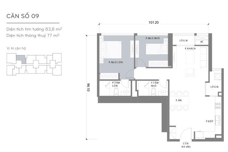 Mặt bằng căn hộ 2 phòng ngủ Căn hộ Vinhomes Central Park 2 phòng ngủ tầng cao L3 nội thất cơ bản