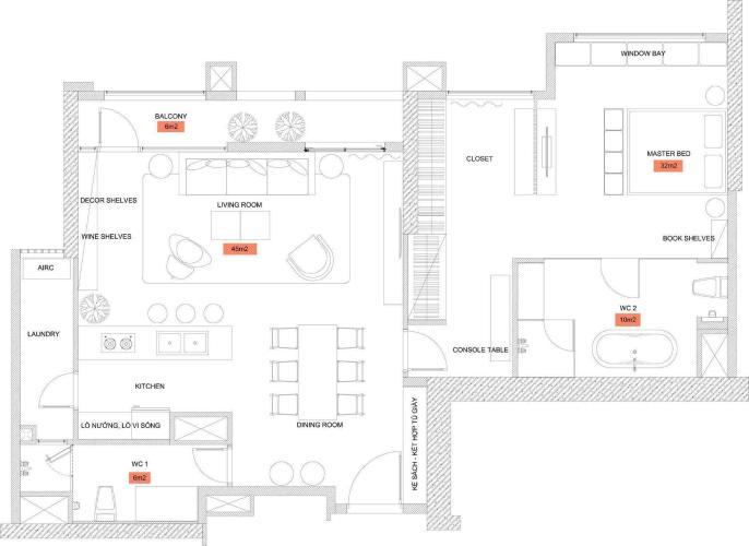 Căn hộ 1 phòng ngủ Căn hộ Vinhomes Central Park tầng thấp C1 thiết kế đẹp, đầy đủ tiện nghi