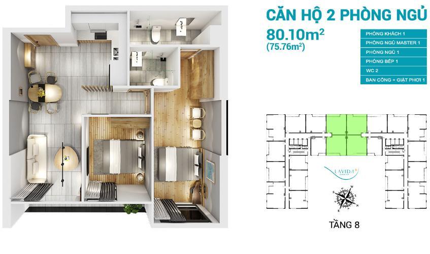 Layout căn hộ Lavida Plus, Quận 7 Căn hộ tầng cao Lavida Plus hướng Tây, ban giao thô.