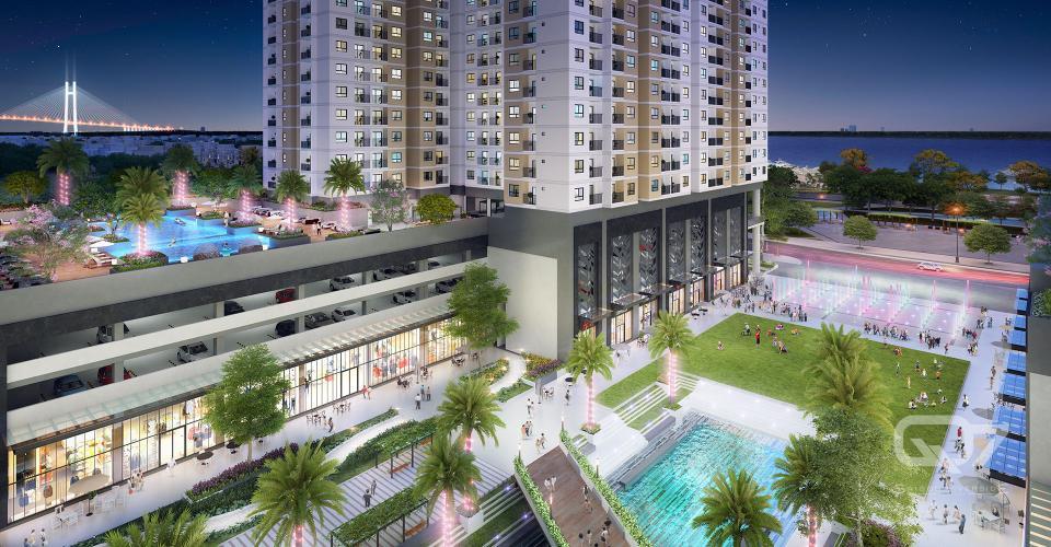 Nội khu dự án Q7 Saigon Riverside Bán căn hộ tầng trung Q7 Saigon Riverside view hồ bơi nội khu.