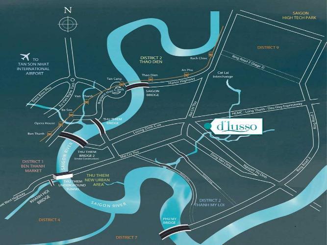 Vị trí D'Lusso Quận 2 Căn hộ D'Lusso tầng thấp. bàn giao nội thất cơ bản.