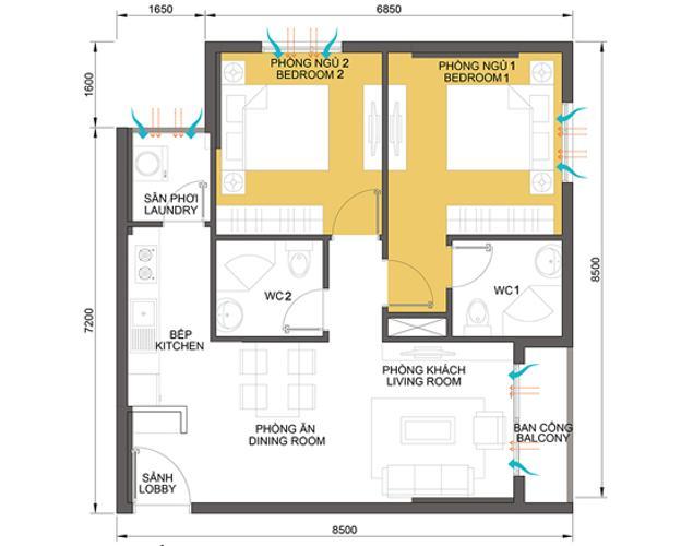 Mặt bằng căn hộ 2 phòng ngủ Căn góc Masteri Thảo Điền tầng cao hướng Tây Bắc tháp T2