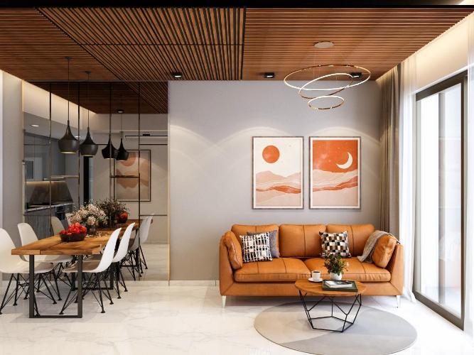 Phòng khách Bán căn hộ 2 phòng ngủ Happy Residence tầng thấp, diện tích 69.18m2, thiết kế hiện đại, nội thất cơ bản.