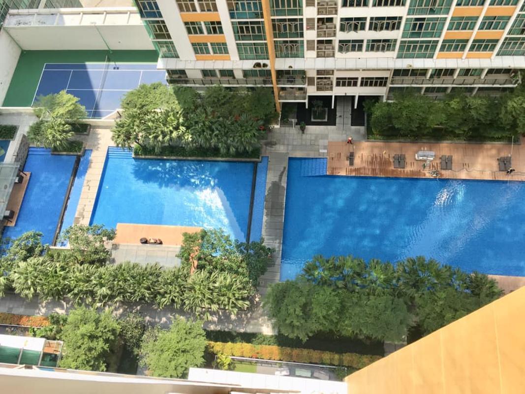 View từ phòng khách Bán hoặc cho thuê căn hộ The Vista An Phú 3PN, tháp T4, nội thất cơ bản, căn góc view thoáng