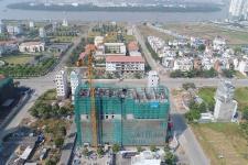 Toàn cảnh công trường xây dựng dự án Waterina Suites Quận 2