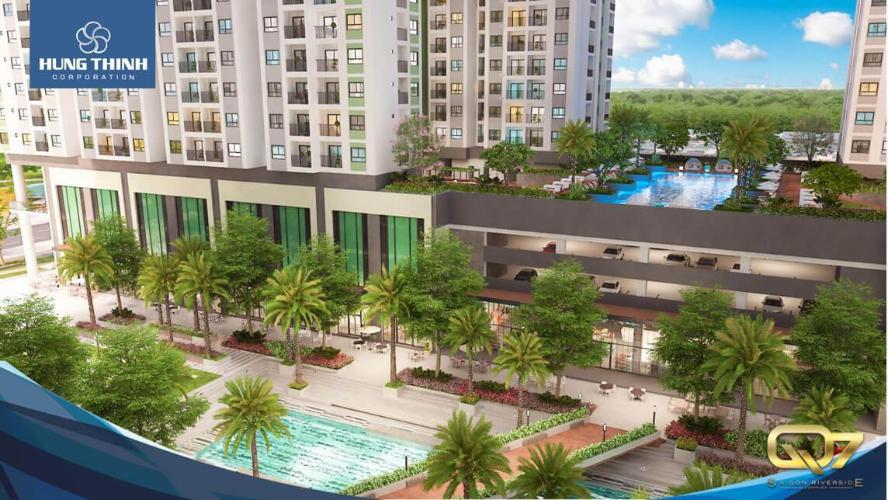 Phối cảnh dự án Q7 Saigon Riverside Bán căn hộ view cầu Phú Mỹ - Q7 Saigon Riverside tầng thấp, 1 phòng ngủ, diện tích 69.1m2, nội thất cơ bản.