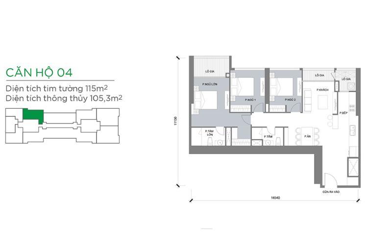 Căn hộ 3 phòng ngủ Căn hộ Vinhomes Central Park 3 phòng ngủ tầng cao P3 view sông