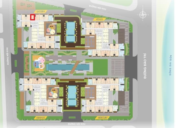 layout tổng quan S2.08.07 Căn hộ Q7 Saigon Riverside tầng trung, ban công hướng Bắc.