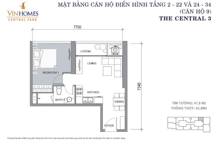 Mặt bằng căn hộ 1 phòng ngủ Căn hộ OfficeTel 1 phòng ngủ Vinhomes Central Park view sông