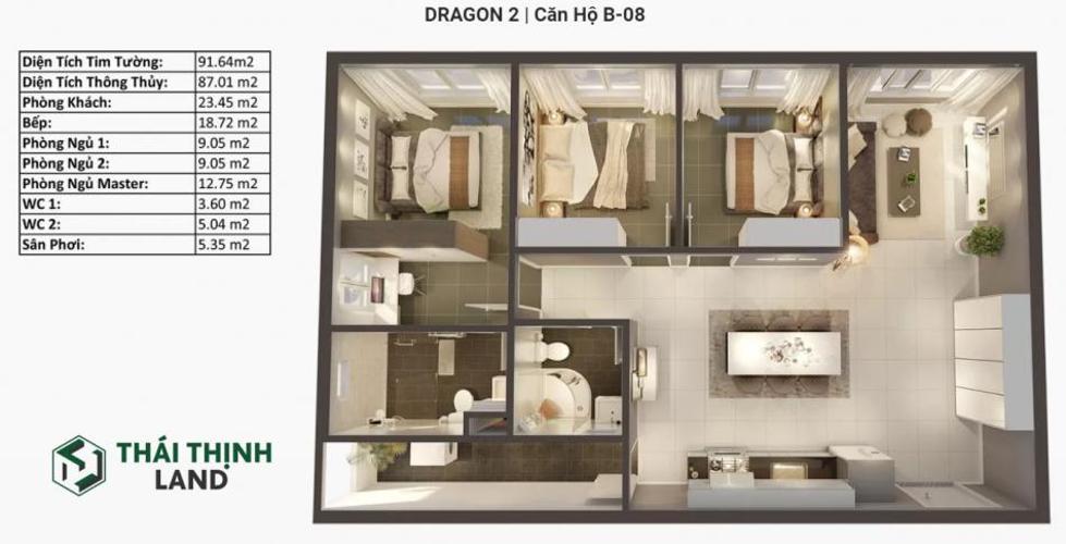 layout căn số 8 tháp B tòa Dragon 2 dự án Topaz Elite quận 8 Căn hộ Topaz Elite tầng cao, cửa chính hướng Tây Bắc.