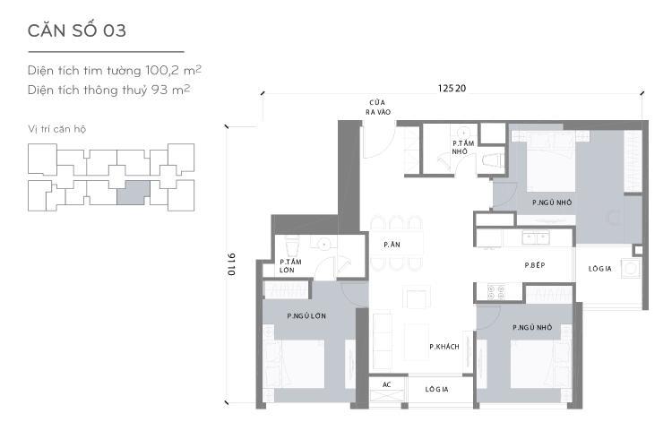Mặt bằng căn hộ 3 phòng ngủ Căn hộ Vinhomes Central Park tầng cao L3, 3 phòng ngủ, nội thất đầy đủ