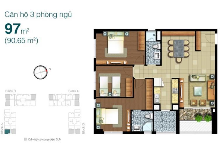 Mặt bằng căn hộ 3 phòng ngủ Căn hộ Lexington Residence tầng trung LA, 3 phòng ngủ, nội thất đầy đủ